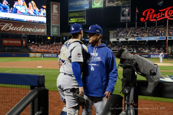 Yasmani Grandal, Don Mattingly--2015 NLDS-Game Three-Los Angeles Dodgers vs New York Mets Monday, October 12, 2015 at Citi Field in Flushing, New York.  Photo by Jon SooHoo /©Los Angeles Dodgers,LLC 2015