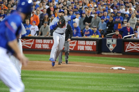 Adrian Gonzalez throws home--2015 NLDS-Game Three-Los Angeles Dodgers vs New York Mets Monday, October 12, 2015 at Citi Field in Flushing, New York.  Photo by Jon SooHoo /©Los Angeles Dodgers,LLC 2015