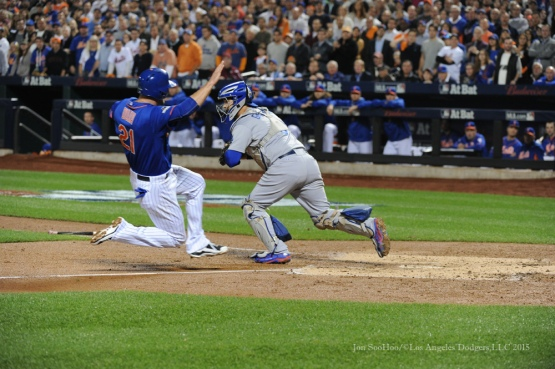 Yasmani Grandal gets the force out--2015 NLDS-Game Three-Los Angeles Dodgers vs New York Mets Monday, October 12, 2015 at Citi Field in Flushing, New York.  Photo by Jon SooHoo /©Los Angeles Dodgers,LLC 2015