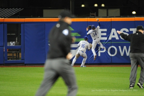 Kike Hernandez goes up for the ball off the wall--2015 NLDS-Game Three-Los Angeles Dodgers vs New York Mets Monday, October 12, 2015 at Citi Field in Flushing, New York.  Photo by Jon SooHoo /©Los Angeles Dodgers,LLC 2015
