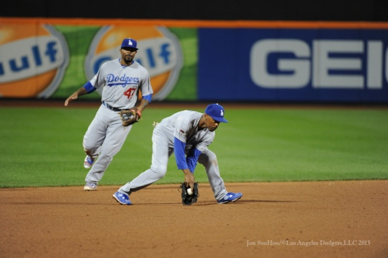 Jimmy Rollins and Howie Kendrick--2015 NLDS-Game Three-Los Angeles Dodgers vs New York Mets Monday, October 12, 2015 at Citi Field in Flushing, New York.  Photo by Jon SooHoo /©Los Angeles Dodgers,LLC 2015