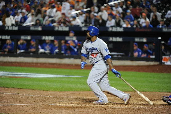 Howie Kendrick homers--2015 NLDS-Game Three-Los Angeles Dodgers vs New York Mets Monday, October 12, 2015 at Citi Field in Flushing, New York.  Photo by Jon SooHoo /©Los Angeles Dodgers,LLC 2015