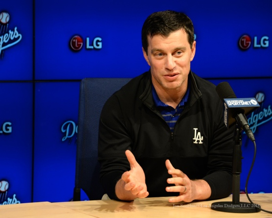 Los Angeles Dodgers Andrew Friedman and Farhan Zaidi talk to the media during press conference Thursday, October 22, 2015 at Dodger Stadium in Los Angeles,California.Photo by Jon SooHoo/©Los Angeles Dodgers,LLC 2015