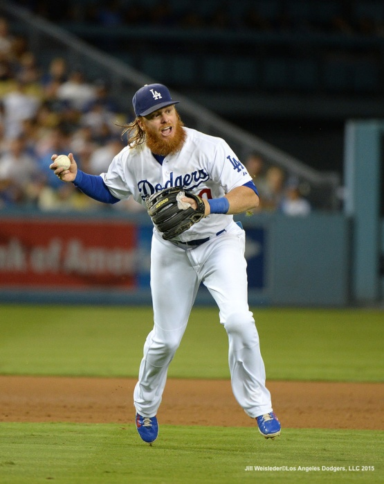Justin Turner makes a throw to first base. Jill Weisleder/Dodgers