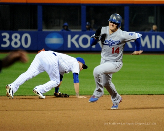 Kike Hernandez takes third--2015 NLDS-Game Four-Los Angeles Dodgers vs New York Mets Tuesday, October 13, 2015 at Citi Field in Flushing, New York.  Photo by Jon SooHoo /©Los Angeles Dodgers,LLC 2015