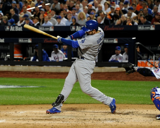 Adrian Gonzalez singles--2015 NLDS-Game Four-Los Angeles Dodgers vs New York Mets Tuesday, October 13, 2015 at Citi Field in Flushing, New York.  Photo by Jon SooHoo /©Los Angeles Dodgers,LLC 2015