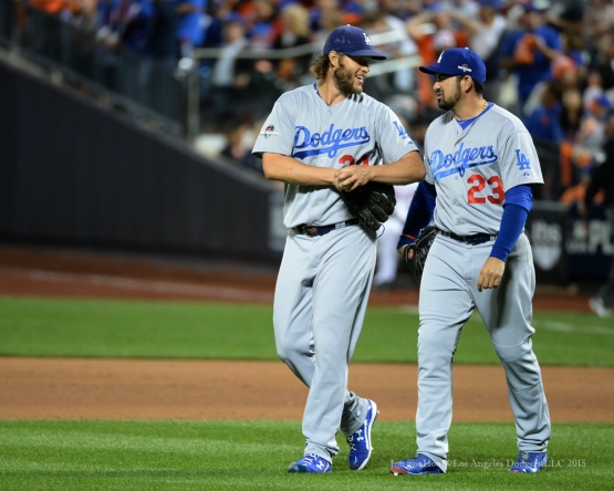 Clayton Kershaw and Adrian Gonzalez--2015 NLDS-Game Four-Los Angeles Dodgers vs New York Mets Tuesday, October 13, 2015 at Citi Field in Flushing, New York.  Photo by Jon SooHoo /©Los Angeles Dodgers,LLC 2015