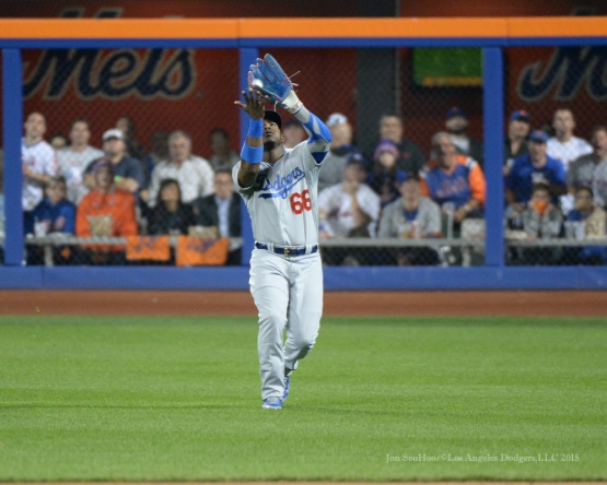 Yasiel Puig--2015 NLDS-Game Four-Los Angeles Dodgers vs New York Mets Tuesday, October 13, 2015 at Citi Field in Flushing, New York.  Photo by Jon SooHoo /©Los Angeles Dodgers,LLC 2015