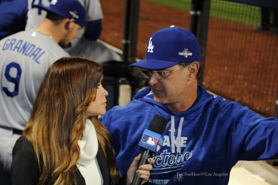 Sam Ryan and Don Mattingly--2015 NLDS-Game Four-Los Angeles Dodgers vs New York Mets Tuesday, October 13, 2015 at Citi Field in Flushing, New York.  Photo by Jon SooHoo /©Los Angeles Dodgers,LLC 2015