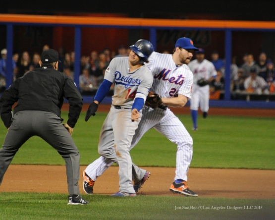 Kike Hernandez out at second--2015 NLDS-Game Four-Los Angeles Dodgers vs New York Mets Tuesday, October 13, 2015 at Citi Field in Flushing, New York.  Photo by Jon SooHoo /©Los Angeles Dodgers,LLC 2015