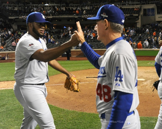 Kenley Jansen and Ron Roenicke--2015 NLDS-Game Four-Los Angeles Dodgers vs New York Mets Tuesday, October 13, 2015 at Citi Field in Flushing, New York.  Photo by Jon SooHoo /©Los Angeles Dodgers,LLC 2015