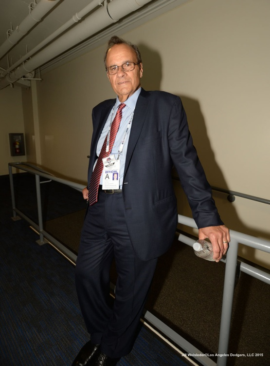 MLB baseball executive and former Dodger manager Joe Torre poses for a photo prior to the start of the game. Jill Weisleder/Dodgers