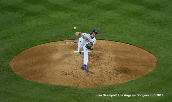 Zack Greinke pitches against the New York Mets in Game Two of the National League Division Series at Dodger Stadium.