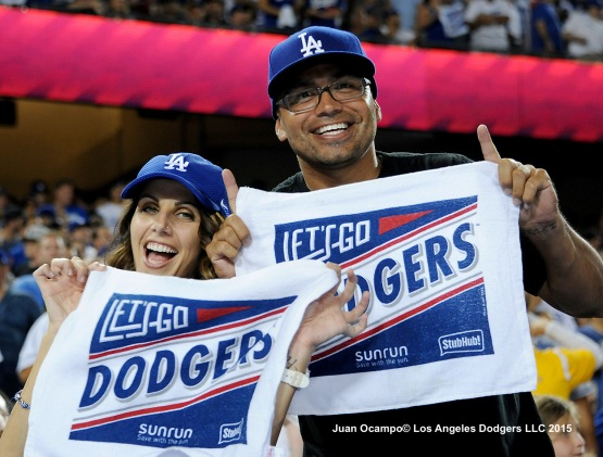 Dodger fans enjoy the Dodgers' 5-2 win over the Mets to even the series at one game apiece.