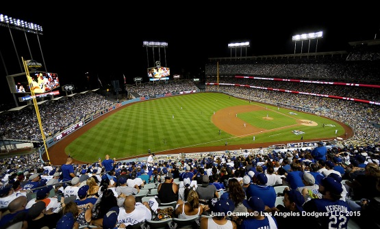 Fans take in the game against the Mets and Dodgers.