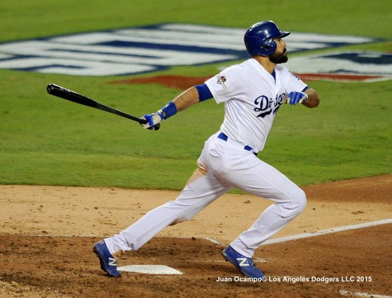 Andre Ethier connects for an RBI single.