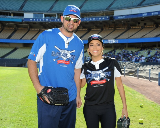Adrian Gonzalez with Eva Longoria--Adrian Gonzalez's Bat4Hope Softball Game  Saturday, November 7, 2015 at Dodger Stadium.  Photo by Jon SooHoo/©Los Angeles Dodgers,LLC 2015