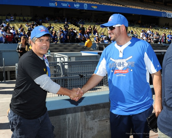 Easi Morales with Adrian Gonzalez--Adrian Gonzalez's Bat4Hope Softball Game  Saturday, November 7, 2015 at Dodger Stadium.  Photo by Jon SooHoo/©Los Angeles Dodgers,LLC 2015
