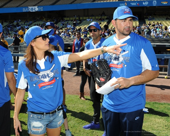 Constance with Adrian Gonzalez--Adrian Gonzalez's Bat4Hope Softball Game Saturday, November 7, 2015 at Dodger Stadium.  Photo by Jon SooHoo/©Los Angeles Dodgers,LLC 2015