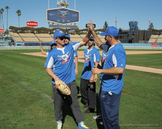Joc Pederson and Adrian Gonzalez--Adrian Gonzalez's Bat4Hope Softball Game  Saturday, November 7, 2015 at Dodger Stadium.  Photo by Jon SooHoo/©Los Angeles Dodgers,LLC 2015