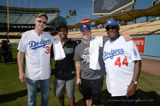 Roy Gleason and Al Downing pose during Los Angeles Dodgers Veterans Day Batting Practice Wednesday, November 18, 2015 at Dodger Stadium in Los Angeles,California. Photo by Jon SooHoo/©Los Angeles Dodgers,LLC 2015