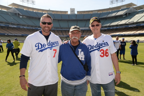 Billy Ashley and Roy Gleason pose during Los Angeles Dodgers Veterans Day Batting Practice Wednesday, November 18, 2015 at Dodger Stadium in Los Angeles,California. Photo by Jon SooHoo/©Los Angeles Dodgers,LLC 2015