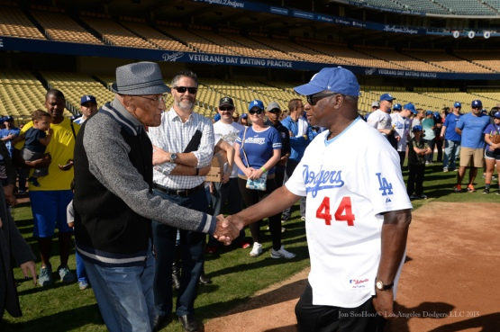 Don Newcombe and Al Downing during Los Angeles Dodgers Veterans Day Batting Practice Wednesday, November 18, 2015 at Dodger Stadium in Los Angeles,California. Photo by Jon SooHoo/©Los Angeles Dodgers,LLC 2015
