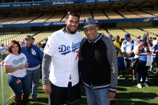 Kenley Jansen and Don Newcombe during Los Angeles Dodgers Veterans Day Batting Practice Wednesday, November 18, 2015 at Dodger Stadium in Los Angeles,California. Photo by Jon SooHoo/©Los Angeles Dodgers,LLC 2015