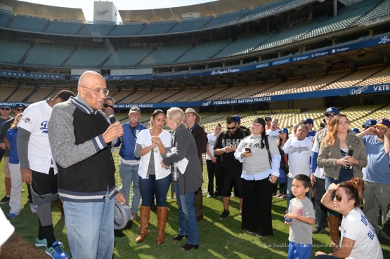 Don Newcombe speaks during Los Angeles Dodgers Veterans Day Batting Practice Wednesday, November 18, 2015 at Dodger Stadium in Los Angeles,California. Photo by Jon SooHoo/©Los Angeles Dodgers,LLC 2015
