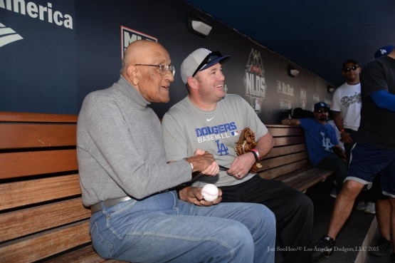Don Newcombe poses with fan during Los Angeles Dodgers Veterans Day Batting Practice Wednesday, November 18, 2015 at Dodger Stadium in Los Angeles,California. Photo by Jon SooHoo/©Los Angeles Dodgers,LLC 2015