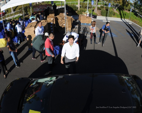 Senator Kevin De Leon during the Los Angeles Dodgers Thanksgiving Turkey Giveaway Thursday, November 19, 2015 in Los Angeles,California. Photo by Jon SooHoo/©Los Angeles Dodgers,LLC 2015