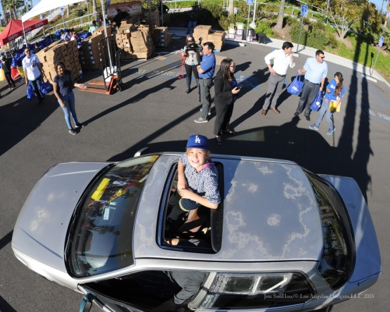 Great Dodger fan during the Los Angeles Dodgers Thanksgiving Turkey Giveaway Thursday, November 19, 2015 in Los Angeles,California. Photo by Jon SooHoo/©Los Angeles Dodgers,LLC 2015