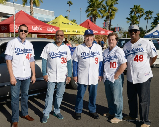 Matt Luke, Derrel Thomas, Al Ferrara, Ron Cey and Dennis Powell during the Los Angeles Dodgers Thanksgiving Turkey Giveaway Thursday, November 19, 2015 in Los Angeles,California. Photo by Jon SooHoo/©Los Angeles Dodgers,LLC 2015