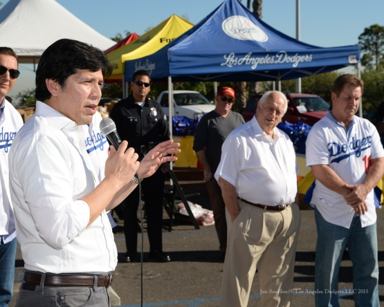 Senator Kevin De Leon speaks to the crowd during the Los Angeles Dodgers Thanksgiving Turkey Giveaway Thursday, November 19, 2015 in Los Angeles,California. Photo by Jon SooHoo/©Los Angeles Dodgers,LLC 2015