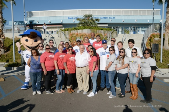 Volunteers pose during Los Angeles Dodgers Thanksgiving Turkey Giveaway Thursday, November 19, 2015 in Los Angeles,California. Photo by Jon SooHoo/©Los Angeles Dodgers,LLC 2015
