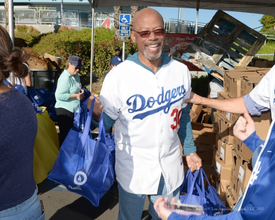 Derrel Thomas during the  Los Angeles Dodgers Thanksgiving Turkey Giveaway Thursday, November 19, 2015 in Los Angeles,California. Photo by Jon SooHoo/©Los Angeles Dodgers,LLC 2015