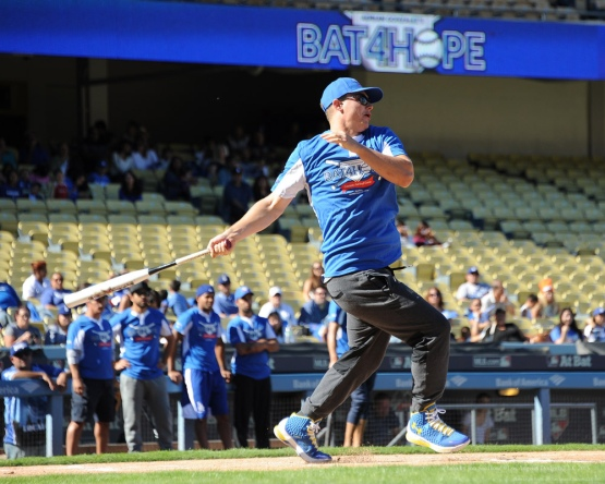 Joc Pederson--Adrian Gonzalez's Bat4Hope Softball Game  Saturday, November 7, 2015 at Dodger Stadium.  Photo by Jon SooHoo/©Los Angeles Dodgers,LLC 2015