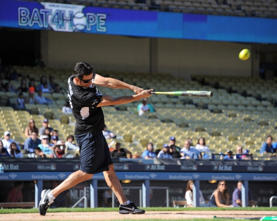 Nomar Garciaparra hits fourth homer--Adrian Gonzalez's Bat4Hope Softball Game  Saturday, November 7, 2015 at Dodger Stadium.  Photo by Jon SooHoo/©Los Angeles Dodgers,LLC 2015