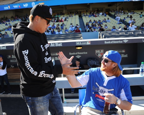 Hyun-jin Ryu and Justin Turner--Adrian Gonzalez's Bat4Hope Softball Game  Saturday, November 7, 2015 at Dodger Stadium.  Photo by Jon SooHoo/©Los Angeles Dodgers,LLC 2015
