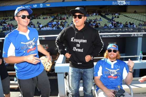 Joc Pederson, Hyun-jin Ryu and Justin Turner--Adrian Gonzalez's Bat4Hope Softball Game  Saturday, November 7, 2015 at Dodger Stadium.  Photo by Jon SooHoo/©Los Angeles Dodgers,LLC 2015