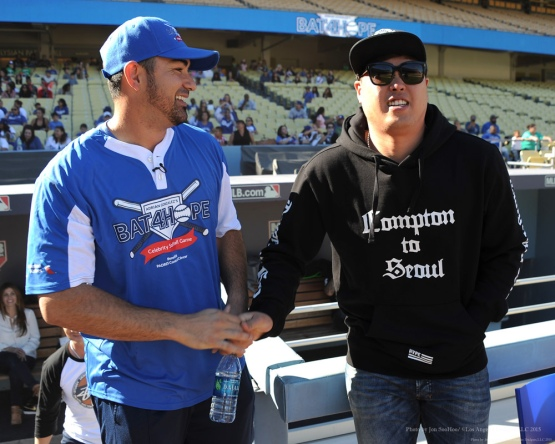 Adrian Gonzalez and Hyun-jin Ryu--Adrian Gonzalez's Bat4Hope Softball Game  Saturday, November 7, 2015 at Dodger Stadium.  Photo by Jon SooHoo/©Los Angeles Dodgers,LLC 2015