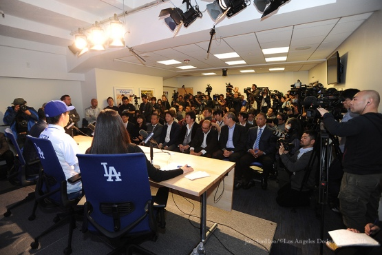 Los Angeles Dodgers Kenta Maeda at his press conference Thursday, January 7, 2016 at Dodger Stadium in Los Angeles,California. Photo by Jon SooHoo/©Los Angeles Dodgers 2016