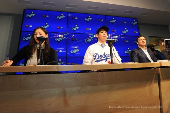 Los Angeles Dodgers Kenta Maeda at his press conference Thursday, January 7, 2016 at Dodger Stadium in Los Angeles,California. Photo by Jon SooHoo/©Los Angeles Dodgers 2016