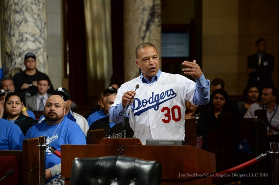 Dave Roberts in City Council Chambers--Los Angeles Dodgers Love LA Tour- Friday, January 29, 2016. Photo by Jon SooHoo/©Los Angeles Dodgers,LLC 2016
