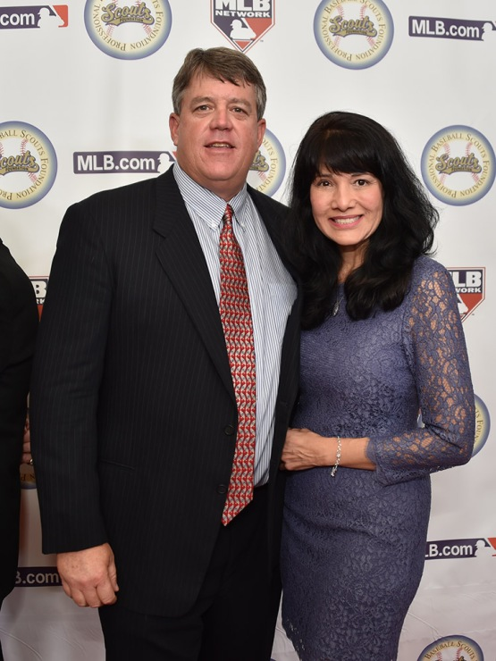 Dodgers scout John Green and wife Roxanna--13th Annual Pro Baseball Scouts Foundation Awards Dinner Saturday, January 17,2016 at the Beverly Hilton in Beverly Hills, California. Photo by Jon SooHoo/©Los Angeles Dodgers,LLC 2016