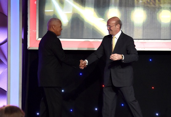 Maury Wills and Stan Kasten--13th Annual Pro Baseball Scouts Foundation Awards Dinner Saturday, January 17,2016 at the Beverly Hilton in Beverly Hills, California. Photo by Jon SooHoo/©Los Angeles Dodgers,LLC 2016