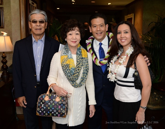 Rob Fukuzaki and family--Southern California Sports Broadcasters Luncheon Monday, January 25, 2016 at Lakeside Country Club in Burbank,CA. Photo by Jon SooHoo/ © Los Angeles Dodgers,LLC 2016