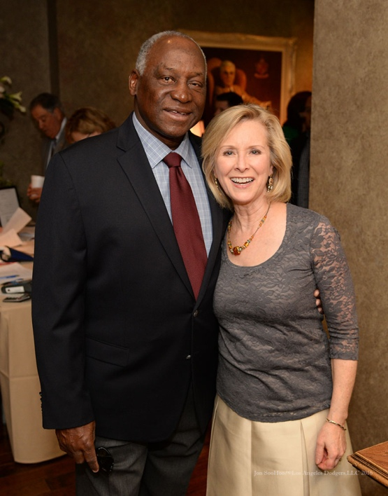 Al Downing and Lisa Bowman--Southern California Sports Broadcasters Luncheon Monday, January 25, 2016 at Lakeside Country Club in Burbank,CA. Photo by Jon SooHoo/ © Los Angeles Dodgers,LLC 2016