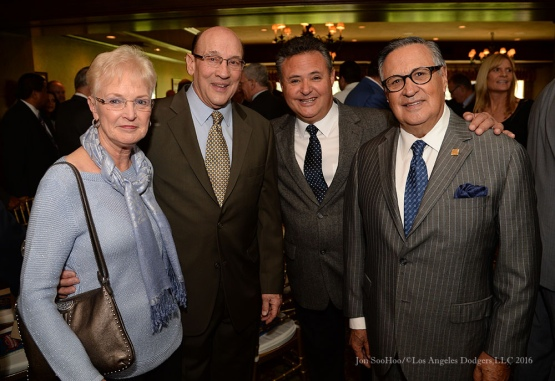 Bob and Judy Miller with Jorge and Jaime Jarrin-Southern California Sports Broadcasters Luncheon Monday, January 25, 2016 at Lakeside Country Club in Burbank,CA. Photo by Jon SooHoo/ © Los Angeles Dodgers,LLC 2016