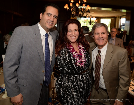 David Vassegh, Elizabeth McDonnell and Ted Sobel--Southern California Sports Broadcasters Luncheon Monday, January 25, 2016 at Lakeside Country Club in Burbank,CA. Photo by Jon SooHoo/ © Los Angeles Dodgers,LLC 2016